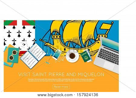 Visit Saint Pierre And Miquelon Concept For Your Web Banner Or Print Materials. Top View Of A Laptop