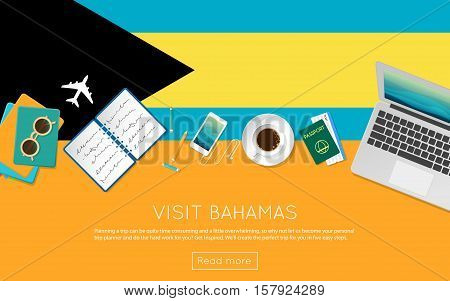 Visit Bahamas Concept For Your Web Banner Or Print Materials. Top View Of A Laptop, Sunglasses And C