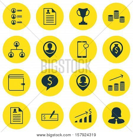 Set Of Management Icons On Job Applicants, Tree Structure And Bank Payment Topics. Editable Vector I