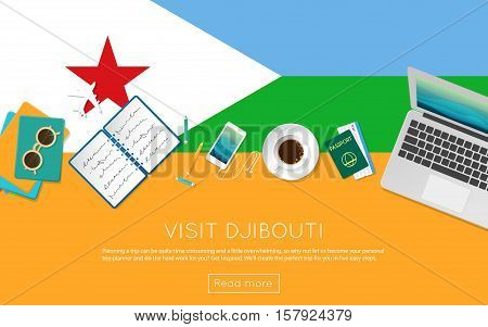Visit Djibouti Concept For Your Web Banner Or Print Materials. Top View Of A Laptop, Sunglasses And
