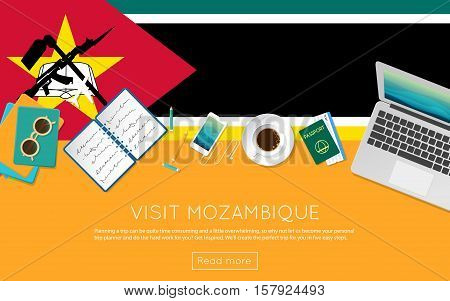 Visit Mozambique Concept For Your Web Banner Or Print Materials. Top View Of A Laptop, Sunglasses An