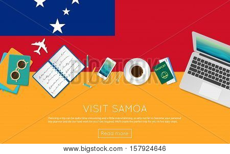Visit Samoa Concept For Your Web Banner Or Print Materials. Top View Of A Laptop, Sunglasses And Cof