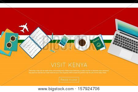 Visit Kenya Concept For Your Web Banner Or Print Materials. Top View Of A Laptop, Sunglasses And Cof