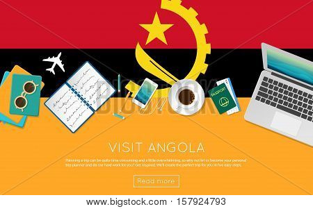 Visit Angola Concept For Your Web Banner Or Print Materials. Top View Of A Laptop, Sunglasses And Co