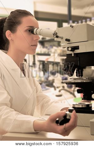 girl - scientist counts the number of bulleted cells. Toned Image
