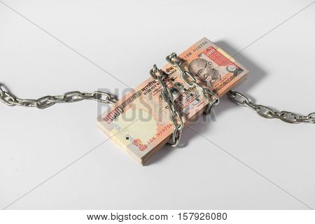 Indian government demonetized high denomination currency notes of Rs 1000 and Rs 500 on 8th of November 2016. Illustrative editorial image.