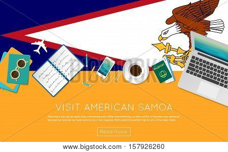 Visit American Samoa Concept For Your Web Banner Or Print Materials. Top View Of A Laptop, Sunglasse
