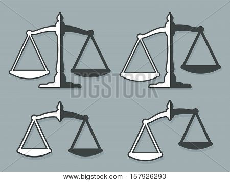 Vector design elements of weight scales set representing justice against gray background