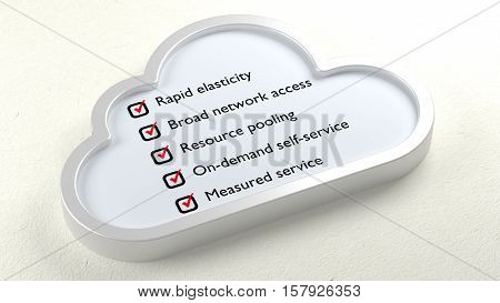 Cloud components and characteristics checklist in a symbol on white paper 3D illustration