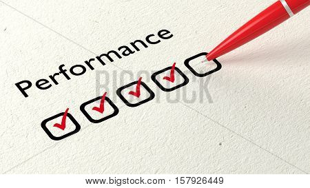 Red ball pen crossing off excellent on a performance evaluation satisfaction checklist on white paper 3D illustration