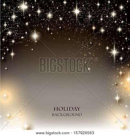 Elegant Starry Christmas background with place for text. Vector Illustration.