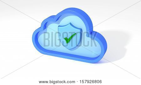 Cloud symbol with shield and green tickmark inside IOT concept cloud security concept 3D illustration
