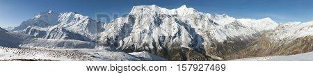 Panoramic view of Annapurna 2 II Annapurna 3 III Annapurna 4 IV Ganggapurna and Khangsar Kang Annapurna range from Ice Lake way to Thorung La pass Annapurna circuit trek Nepal