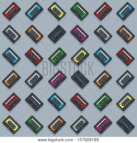 Seamless cassette tape collection pattern over gray background, vector