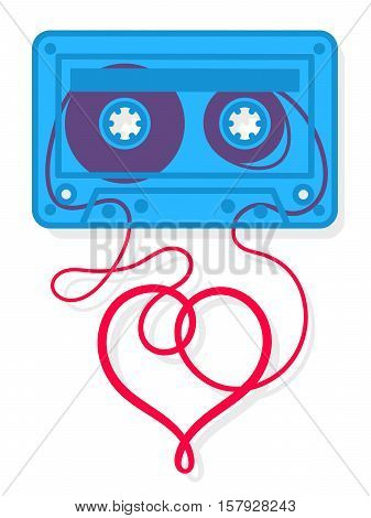 Vector illustration of blue mix tape cassette with heart shape reel isolated on white