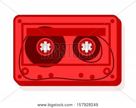 Vector illustration of red cassette with blank label isolated on white
