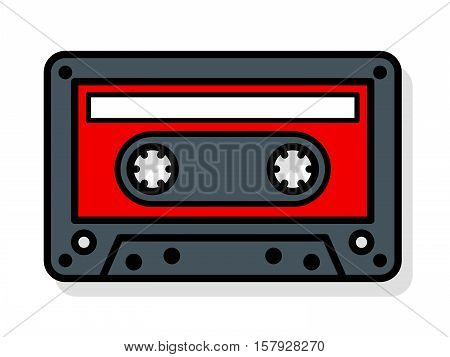 Vector illustration of tape cassette with blank label over white background