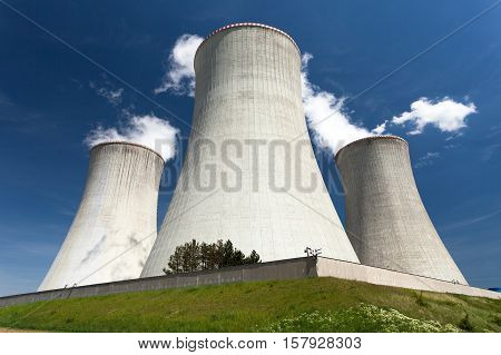 Nuclear power plant Dukovany - cooling towers and beautiful sky - Czech Republic