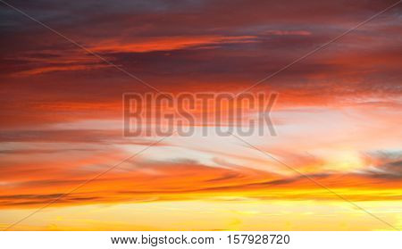 Evening sunset view of beautiful red colored sky