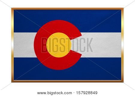 Flag of the US state of Colorado. American patriotic element. USA banner. United States of America symbol. Colorado official flag golden frame fabric texture illustration. Accurate size colors