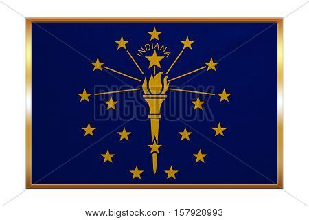 Flag of the US state of Indiana. American patriotic element. USA banner. United States of America symbol. Indianian official flag golden frame fabric texture illustration. Accurate size colors