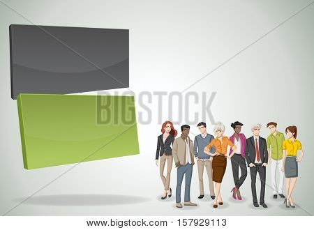 Vector banners / backgrounds with business people. 3d design. Text box frames. Infographic design.