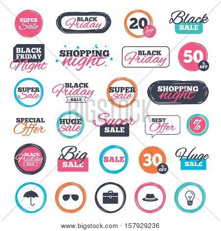 Sale shopping stickers and banners. Clothing accessories icons. Umbrella and sunglasses signs. Headdress hat with business case symbols. Website badges. Black friday. Vector