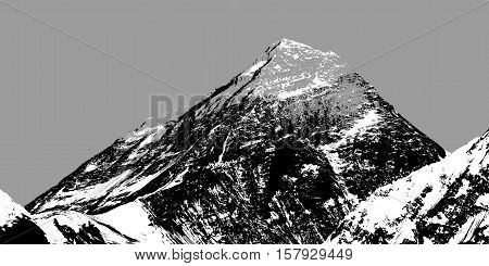 Abstract silhouette of Mount Everest from Gokyo valley Sagarmatha national park Khumbu valley Nepal