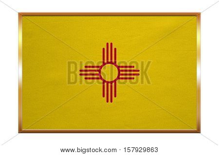 Flag of the US state of New Mexico. American patriotic element. USA banner. United States of America symbol. New Mexican official flag golden frame fabric texture illustration. Accurate size color