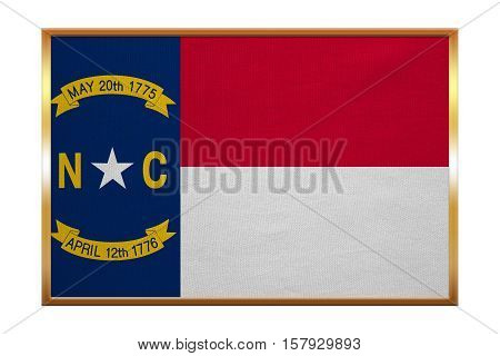 Flag of the US state of North Carolina. American patriotic element. USA banner. United States of America symbol. North Carolinian official flag golden frame fabric texture illustration. Accurate size