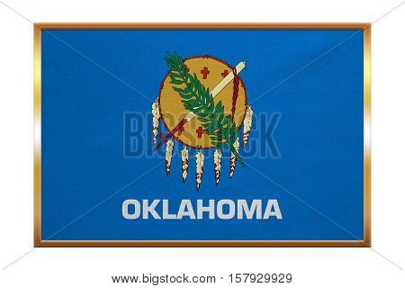 Flag of the US state of Oklahoma. American patriotic element. USA banner. United States of America symbol. Oklahoman official flag golden frame fabric texture illustration. Accurate size colors