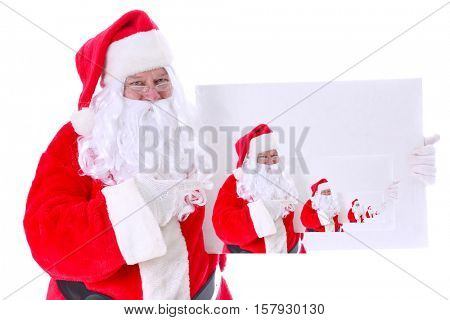 Santa Claus INFINITY Poster. Santa holds a white sign with his own image reproduced in each white sign representing the concept of Infinity. Isolated on white with room for your text.