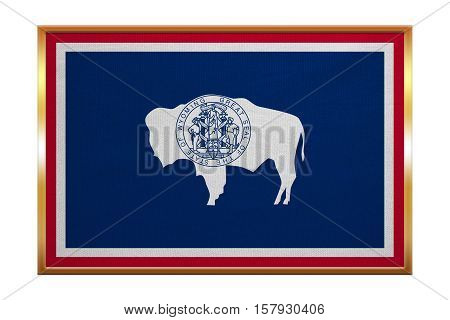 Flag of the US state of Wyoming. American patriotic element. USA banner. United States of America symbol. Wyomingite official flag golden frame fabric texture illustration. Accurate size colors