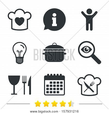 Chief hat with heart and cooking pan icons. Crosswise fork and knife signs. Boil or stew food symbol. Information, light bulb and calendar icons. Investigate magnifier. Vector
