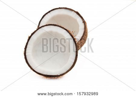 Coconut Split in Half.Coconut split into two pieces.