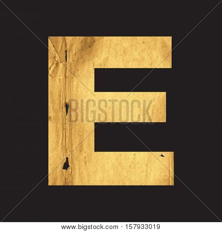 Uppercase letter E of the English alphabet carved out of the old paper on black vector