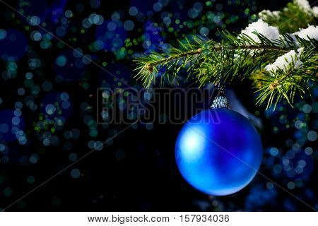 Christmas tree branch with snow and blue ornament. Christmas tree and Christmas decoration. Christmas greeting background. Copy space.