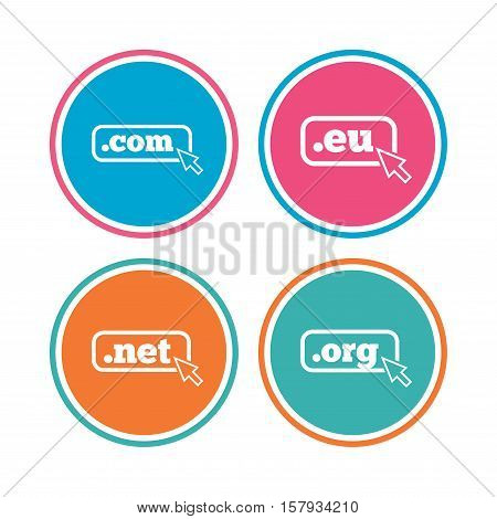 Top-level internet domain icons. Com, Eu, Net and Org symbols with cursor pointer. Unique DNS names. Colored circle buttons. Vector