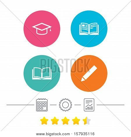 Pencil and open book icons. Graduation cap symbol. Higher education learn signs. Calendar, cogwheel and report linear icons. Star vote ranking. Vector
