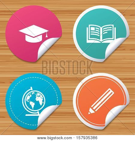 Round stickers or website banners. Pencil and open book icons. Graduation cap and geography globe symbols. Education learn signs. Circle badges with bended corner. Vector