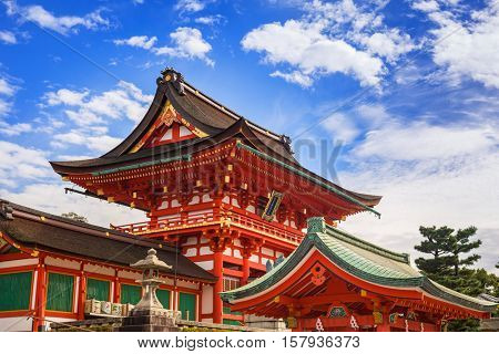 KYOTO, JAPAN - NOVEMBER 10, 2016 : Buddhist temple at Fushimi Inari Shrine in Kyoto, Japan. Fushimi Inari Shrine with thousands of torii gates is a popular tourists destinations in Japan.