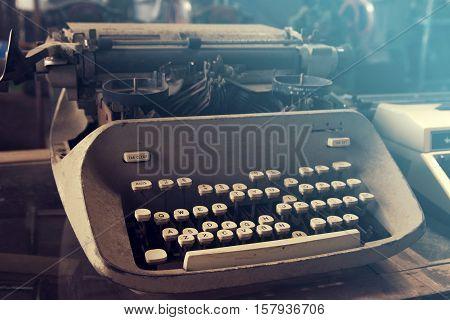 Close up, Antique Typewriter machine, vintage tone