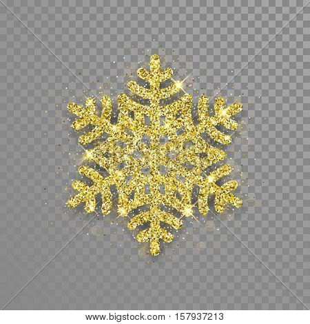 Shine golden snowflake covered with glitter on transparent background. Christmas decoration with shining sparkling light effect. Vector isolated icon. New Year golden glittering ornament