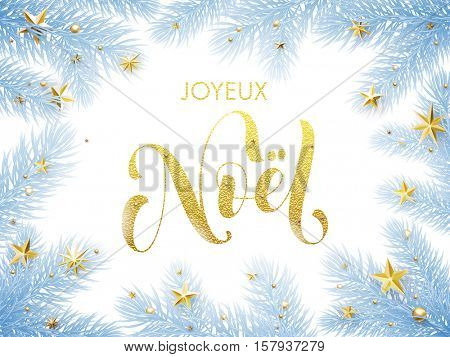 Merry Christmas in French Joyeux Noel greeting card. Joyeux Noel poster template of pine and fir christmas tree branches, golden stars, ornament decorations. Calligraphy lettering text