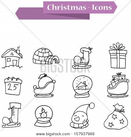 Hand draw Christmas icons theme collection stock