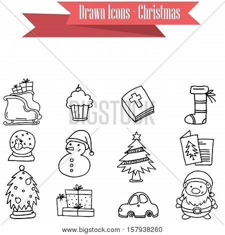 Collection stock of Christmas icons vector art illustration