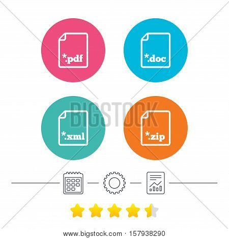 Download document icons. File extensions symbols. PDF, ZIP zipped, XML and DOC signs. Calendar, cogwheel and report linear icons. Star vote ranking. Vector