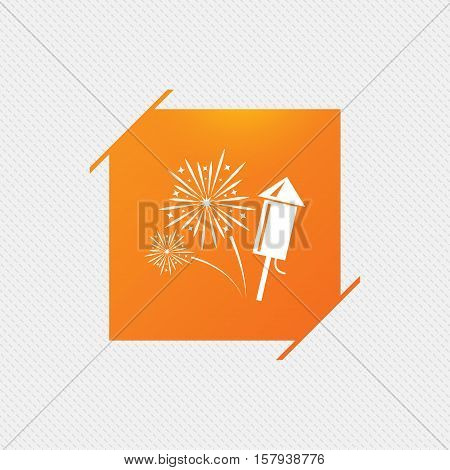 Fireworks with rocket sign icon. Explosive pyrotechnic symbol. Orange square label on pattern. Vector