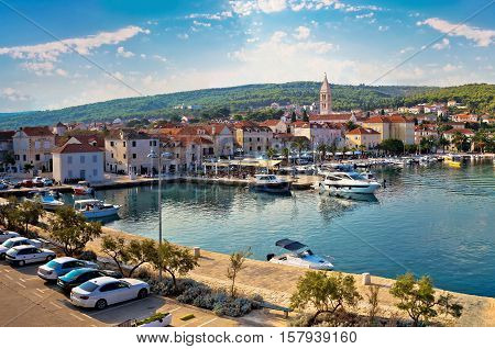 Supetar on Brac island panoramic view of harbor and old waterfront Dalmatia Croatia