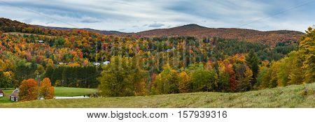 Vermont countryside during fall foliage peak season